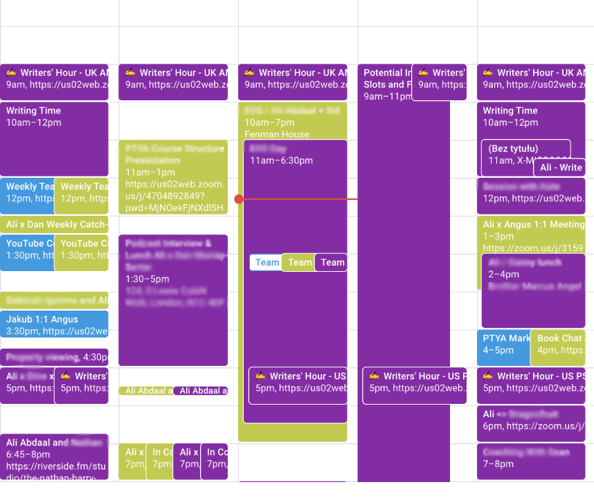 My calendar with a lot of time-blocked tasks